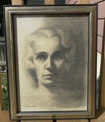 Franta Patocka (1909-) Poland Signed Charcoal Painting Young Lady Portrait Rare