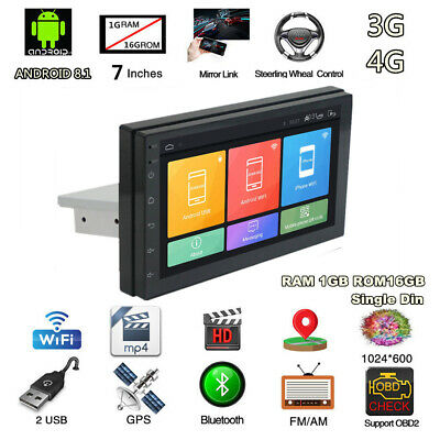 "7"" Single Din Android 8.1 WiFi 3G 4G Stereo Radio FM Player Car GPS Navigation"