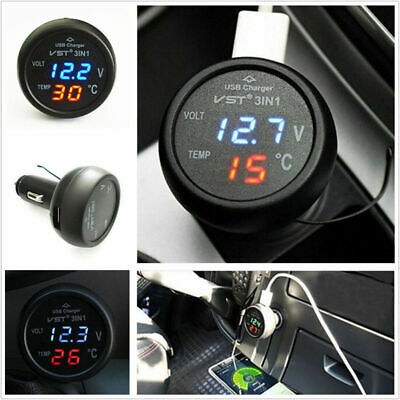 DC 12V USB Car Cigarette Charger Lighter LED Voltmeter Ammeter Thermometer