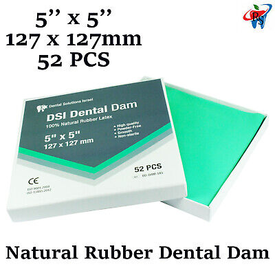 Dental Dam Sheet Natural Rubber Latex 52 Units 5x5 Inches / 127x127 mm