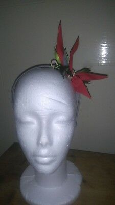 Genieart Red spikey Fasinator grey headband