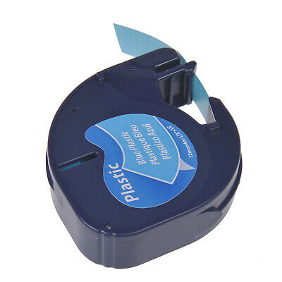 "Platic Label Tape for DYMO Letra Tag LT100T 91335 91205 Black on Blue 1/2"" 12MM"
