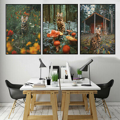 Mountain Travel Cat Canvas Painting Poster Home Bedroom Corridor Wall Hangings