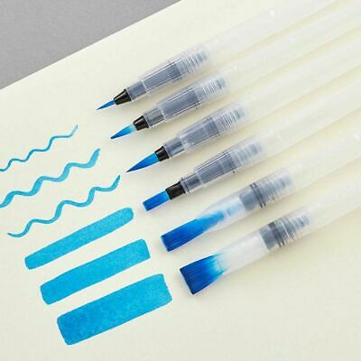 6pcs/Set Watercolor Brush Calligraphy Painting Refillable Ink Art Brush Pen New