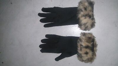 Womens vintage gloves with animal print faux fur cuffs size 10 4 inch black
