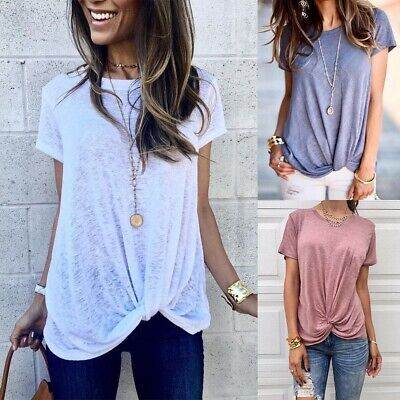 Womens T shirt Summer Blouse Casual Summer Loose O Neck Solid Short Sleeve Tops