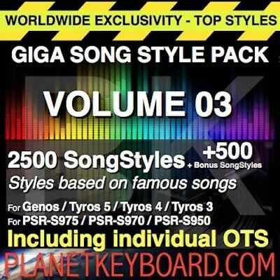 Styles pour Yamaha Genos GIGA PACK VOL 03 3000 SONGSTYLES SONG STYLES PSR-SX900