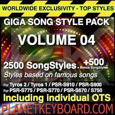 Yamaha PSR Styles GIGA PACK VOL 04 3000 SONGSTYLES SONG STYLES POUR YAMAHA PSR-S