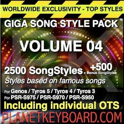 Styles pour Yamaha Genos GIGA PACK VOL 04 3000 SONGSTYLES SONG STYLES PSR-SX900