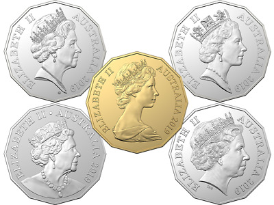 2019 Five-coin uncirculated 50c set marks the golden anniversary with a special