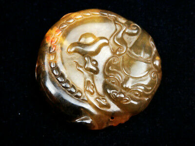 Old Nephrite Jade Carved Pendant Sculpture Monster Pi-Xiu Ingot Coins #06031908