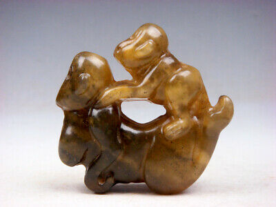Old Nephrite Jade Stone Carved Sculpture Baby Monkey Riding Mama #06031902