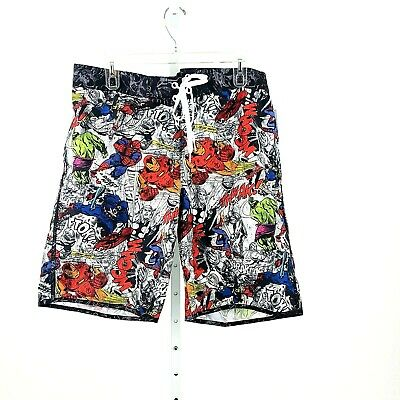 1a00fa2f35 Marvel Mens Superhero Comic Boardshorts Swim Trunks Hulk Spiderman Size XL