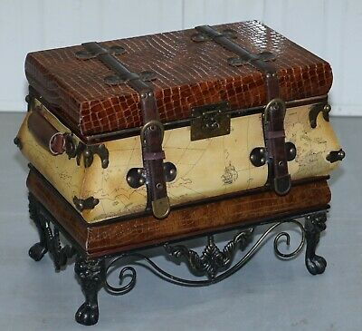 Small Vintage Style Luggage Trunk Chest Wrought Iron Base Map Detailing Must See