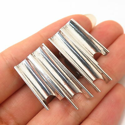 925 Sterling Silver Vintage Mexico Modernist Design Clip On Earrings