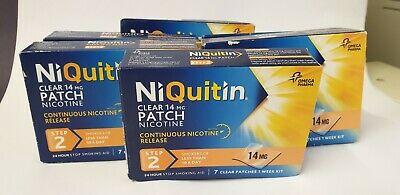 42 x NiQuitin Clear 14 mg Patches Step 2  Box Unopened