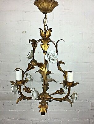 VTG French Gold Gilt Leaf Porcelain Rose Chandelier Ceiling Light Lamp 3 Branch