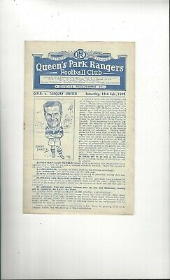 QPR v Torquay United Football Programme 1947/48