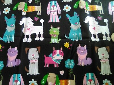Colorful Dogs & Puppies in Bright Colors on Black Cotton Fabric Scrap Quilt Sew
