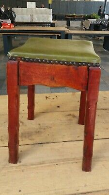 Antique Victorian type style Foot Stool, Pretty Patterned Wooden Frame green