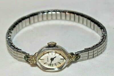 Antique Vintage Art Deco Silver Tone Diamond Benrus Swiss Ladies Watch WORKS