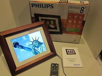 "PHILLIPS 8"" Digital Photo Frame Mahogany Wood LCD Screen SPF3482/G7"