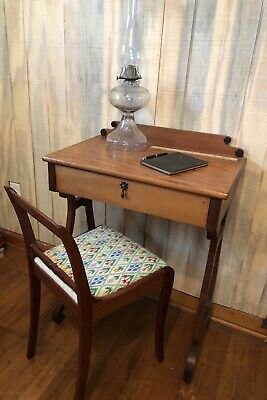 Beautiful Antique Lyre Petite (child's?) Writing Desk/vanity And Chair