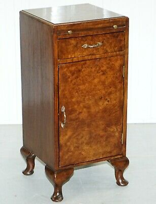 Rare 1920'S Art Deco Burr Walnut Side Table With Butlers Serving Tray & Drawer
