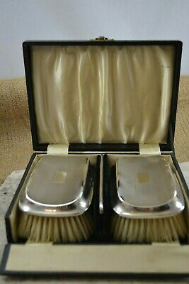 VINTAGE sterling silver backed clothes/hair brushes HASSET & HARPER 1935 cased