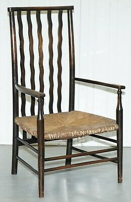 19Th Century Morris & Co For Liberty London Lathback Armchair Rush Seat 3/4 Size