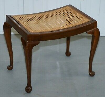 Lovely Vintage Circa 1940'S Rattan Berger Bench Stool Seat With Cabriolet Legs