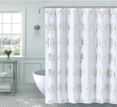Kate Aurora Bohemian Metallic Elephants Fabric Shower Curtain - Assorted Colors