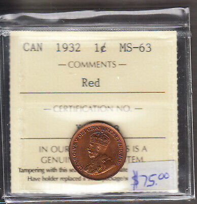 1932 Canada - One Cent - ICCS Graded MS-63 Red - George V - AJ16