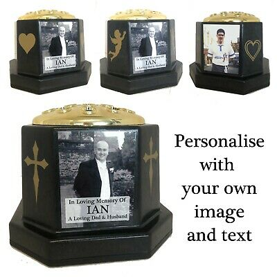 Memorial Deco Photo Grave Vase - Personalised Tribute Gold Flower Pot & Plaque