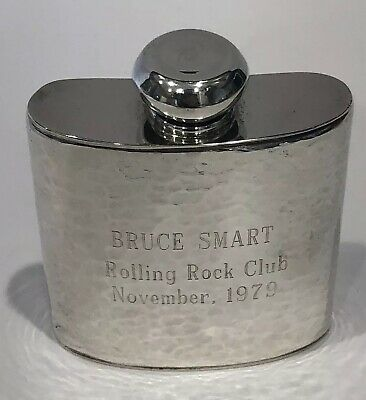 Very Rare! Vintage Cartier Hand Made Hammered Sterling Silver Whisky Hip Flask
