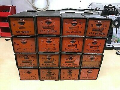 "Vintage ""Dorman"" Add-A-Bin Metal Industrial Drawers, (Lot Of 16) Nice Condition"