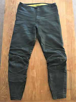 Vtg 1960/70's Bates black leather size 32 motorcycle pants padded Made in USA