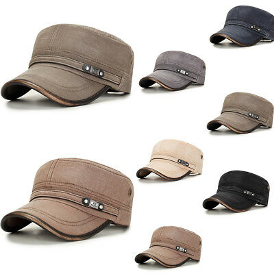 879e2ca1a MENS WASHED COTTON Flat Top Hat Outdoor Sunscreen Military Army ...