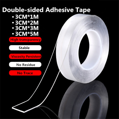 1 Roll 1M 2M 3M 5M Double-sided Tape Traceless Washable Adhesive Tape Nano Gel