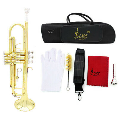Trumpet Bb B Flat Brass Exquisite w/ Bag, Mouthpiece Gloves Strap Beginners Gift
