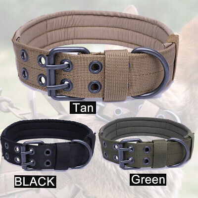 Military Dog Training Collar with Thicken Nylon Leash w/ Metal Buckle Adjustable