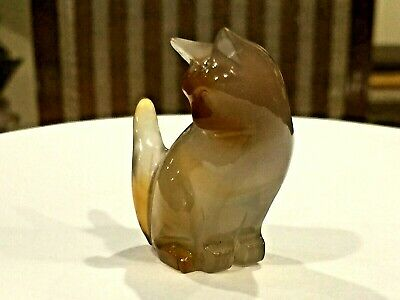 Beautiful Antique 19-20 C Chinese Carved Agate Or Smokey Topaz Ston Cat Statue