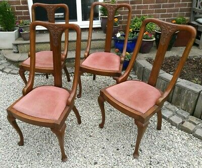 Set of 4 x Antique ~Queen Anne ~Dining Chairs ~Carved Bow~ Upholstered ~Solid