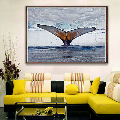 Whale Tail Sea Sunset Canvas Painting Poster Home Stairs Corridor Bedroom Decor