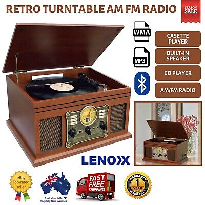 NEW Turntable Vinyl Record Player Casette AM FM Radio CD USB Bluetooth Remote