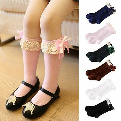 Baby Girl Children Kids Knee High Lace Frill Socks School Wedding Christening QU