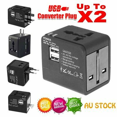World Wide Universal International Travel Adapter 2 USB Multi Plug Charger Power