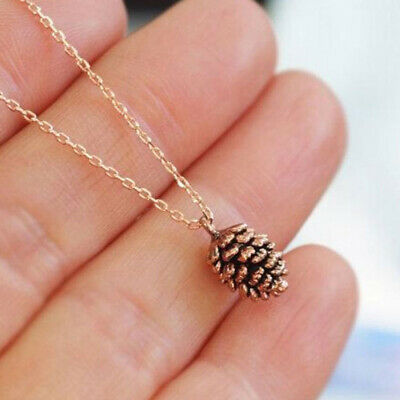 Charm Women Chic Bronze Tiny Acorn Layering Pine Cone Necklace Pendant Jewelry