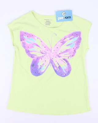 Lands End Girls Green Jewelled Butterfly Vest Top Age 10-12