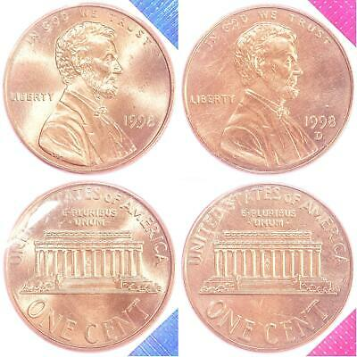 1998 P D Lincoln Memorial Cent BU US Mint Cello 2 Coin Penny Set